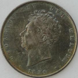 HALF CROWNS 1826  GEORGE IV BARE HEAD 3RD REV SMALL SCR ON CHEEK