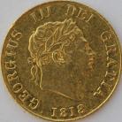 HALF SOVEREIGNS 1818  GEORGE III GEORGE III 8 OVER 8
