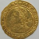 HAMMERED GOLD 1620 -1621 JAMES I HALF LAUREL 3RD COINAGE 4TH BUST SMALL TIES MM ROSE