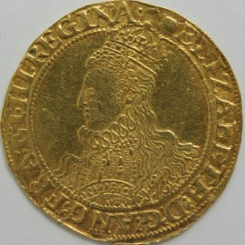 HAMMERED GOLD 1592 -95 ELIZABETH I POUND 6TH ISSUE OLD BUST WITH ELABORATE DRESS AND PROFUSION OF HAIR REV CROWN OVER SHIELD MM TUN SUPERB PORTRAIT S2534