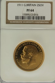 TWO POUNDS (GOLD) 1911  GEORGE V GEORGE V PROOF ISSUE NGC SLABBED