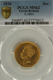 SOVEREIGNS 1826  GEORGE IV GEORGE IV PCGS SLABBED