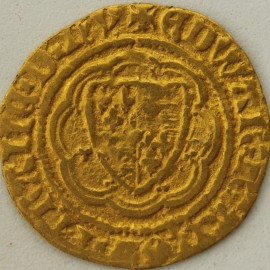 HAMMERED GOLD 1356 -1361 EDWARD III QUARTER NOBLE PRE TREATY 4TH COINAGE CLASS G MM CROSS PATTEE CROSS 3(4)
