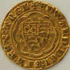 HAMMERED GOLD 1361 -1369 EDWARD III QUARTER NOBLE TREATY PERIOD ANNULET BEFORE EDWARD REVERSE LIS IN CENTRE MM CROSS POTENT (5) GVF