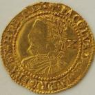 HAMMERED GOLD 1624  JAMES I HALF LAUREL 3RD COINAGE 4TH BUST VALUE BEHIND SMALL TIES MM TREFOIL