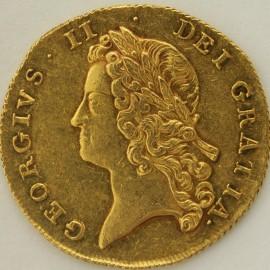 TWO GUINEAS 1738  GEORGE II GEORGE II YOUNG LAUREATE HEAD S3677B