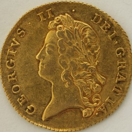 TWO GUINEAS 1738  GEORGE II GEORGE II YOUNG LAUREATE HEAD S3677B