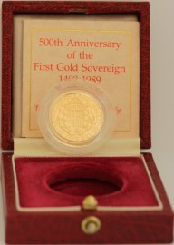 SOVEREIGNS 1989  Elizabeth II 500TH ANN.  OF SOVEREIGN  WITH COA. PROOF. VERY SCARCE
