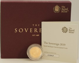 SOVEREIGNS 2019  ELIZABETH II MATTE FINISH MINT STATE