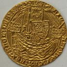 HAMMERED GOLD 1377 -1399 RICHARD II NOBLE CALAIS TYPE IIA NO FRENCH TITLE FLAG AT STERN OF SHIP MM CROSS PATTEE ON REV. ONLY  FULL FLAN