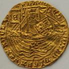 HAMMERED GOLD 1464 -1470 Edward IV  Half ryal light coinage large fleurs in spandrels london mm crown