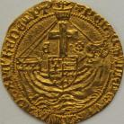 HAMMERED GOLD 1480 -1483 EDWARD IV ANGEL 2ND REIGN SALTIRE STOPS LONDON MM HERALDIC CINQUEFOIL