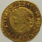 HAMMERED GOLD 1620 -1621 JAMES I QUARTER LAUREL 3RD COINAGE 2ND BUST MM LIS GVF