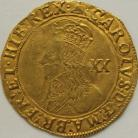 HAMMERED GOLD 1634 -1635 CHARLES I Unite. Tower Mint. Group D. 5th Bust With Falling Lace Collar. MM Bell.