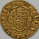 HAMMERED GOLD 1361 -1369 EDWARD III QUARTER NOBLE TREATY PERIOD LIS IN CENTRE MM CROSS POTENT GVF