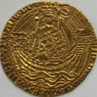 HAMMERED GOLD 1413 -1422 HENRY V Noble class C muluet by sword arm annulet on rudder broken annulet on side of ship MM pierced cross with pellet centre