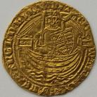 HAMMERED GOLD 1361 -1369 EDWARD III HALF NOBLE TREATY PERIOD LONDON MINT ANNULET BEFORE EDWARD MM CROSS POTENT ON REVERSE ONLY SCARCE GVF