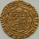 HAMMERED GOLD 1361 -1369 EDWARD III QUARTER NOBLE TREATY PERIOD ANNULET BEFORE EDWARD REVERSE LIS IN CENTRE A PLEASING EXAMPLE MM CROSS POTENT (5) NEF