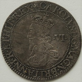 CHARLES I 1631 -1632 CHARLES I SIXPENCE BRIOTS FIRST MILLED ISSUE EARLY BUST WITH FALLING LACE COLLAR REVERSE SQUARE TOPPED SHIELD OVER LONG CROSS FOURCHEE MM FLOWER AND B RARELY SEEN WITHOUT UNSIGHTLY ADJUSTMENT MARKS GEF