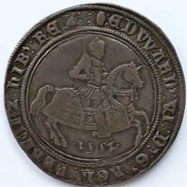 CROWNS 1552  EDWARD VI FINE SILVER ISSUE KING ON HORSEBACK  WITH DATE BELOW HORSE. MM TUN S2478