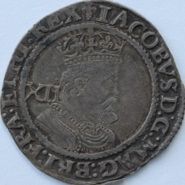 JAMES I 1623 -1624 JAMES I SHILLING 3RD COINAGE 6TH BUST LONG CURLY HAIR MM LIS S2668 Small edge flaw